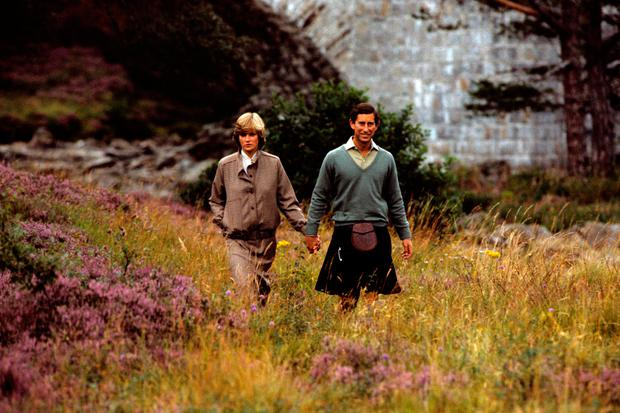The Prince and Princess of Wales on holiday in Balmoral in 1981
