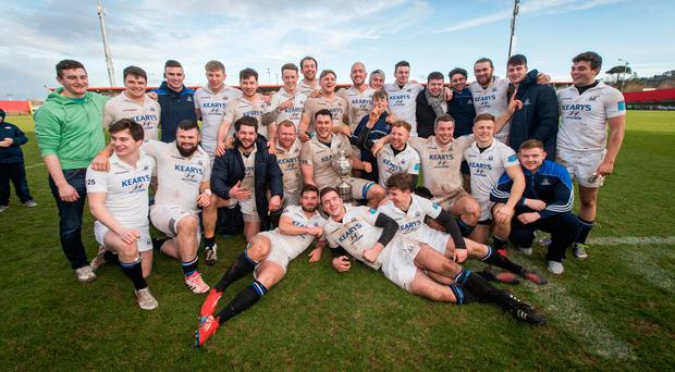 Cork Con celebrate their fifth consecutive Challenge Cup after a 14-0 win over Young Munster. Photo credit: ©INPHO/Ryan Byrne