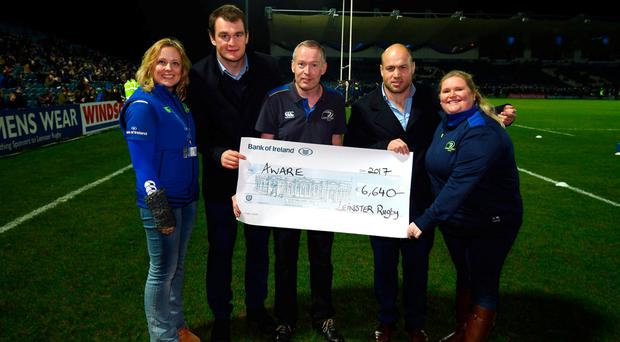 AWARE cheque presentation ahead of Leinster's Pro12 clash with Edinburgh. SPORTSFILE