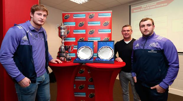 John Madigan and James Cronin with Bank of Ireland's Morgan Whelan at the underage competitions launch.