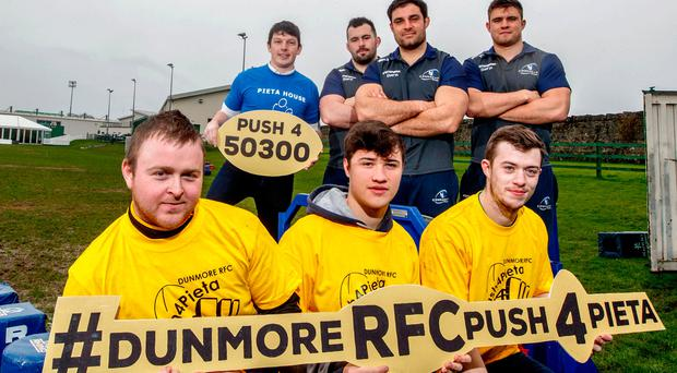 Pictured at the launch are Dunmore's Martin Welsh, Callum Golden and Andrew Doherty; Joe Burke, Pieta House; and Connacht's JP Cooney, Ronan Loughney and Dave Heffernan. Below: Connacht's Eric Elwood