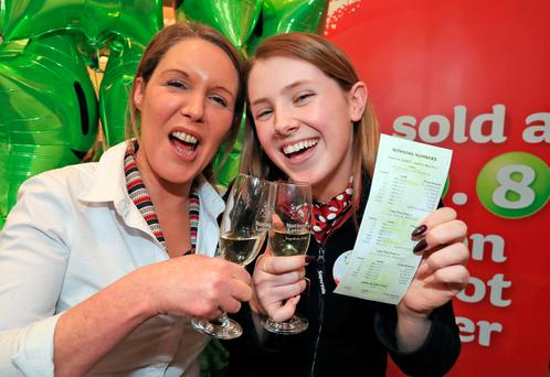 Valerie Mooney, left, and Louise Dunne, staff with SuperValu, Knocklyon, Dublin who sold this week's winning Lotto jackpot ticket. Photo: Collins