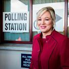 Sinn Féin leader in the North Michelle O'Neill at St Patrick's Primary School before casting her vote. Photo: PA
