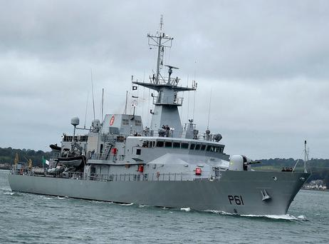 Five Irish ships – LÉ Niamh, LÉ Róisín, LÉ James Joyce, LÉ Samuel Beckett and LÉ William Butler Yeats – have been built to essentially the same offshore patrol vessel design since 1999. The sixth, LÉ George Bernard Shaw, will enter service in 2019. Picture: Irish Defence Forces