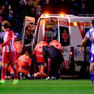 Atletico Madrid's forward Fernando Torres is evacuated in an ambulance due to an injury during the Spanish league football match RC Deportivo de la Coruna vs Club Atletico de Madrid at the Municipal de Riazor stadium in La Coruna on March 2, 2017. The match ended with a 1-1 draw. / AFP PHOTO / MIGUEL RIOPAMIGUEL RIOPA/AFP/Getty Images