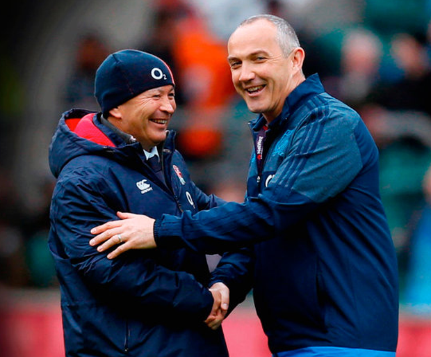 Italy head coach Conor O'Shea (right) and England head coach Eddie Jones shake hands before the Six Nations match at Twickenham.
