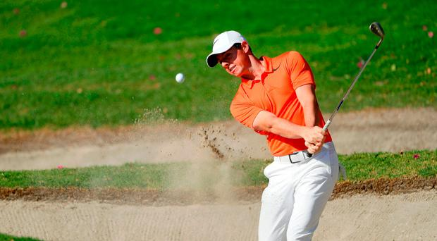 Rory McIlroy blasts from a bunker during practice for the World Golf Championships Mexico Championship at Club De Golf Chapultepec on March 1, 2017 in Mexico City, Mexico. (Photo by Jamie Squire/Getty Images)