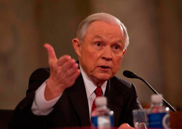 Jeff Sessions testifies during his confirmation hearing in the Senate Picture: AFP/Getty