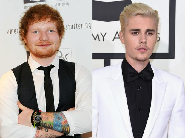 Ed Sheeran (L) hit Justin Bieber in the face with a golf club. Images: Getty