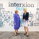 Tánaiste and Minister for Justice and Equality, Frances Fitzgerald TD; and Tanya Duncan, Managing Director of Interxion Ireland; at the launch of Interxion's new €28 million data centre,DUB3 Pic:Naoise Culhane/no fee