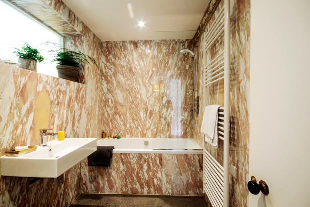 Esther Gerrard and Ed Coveney's duplex apartment: The pink marble bathroom