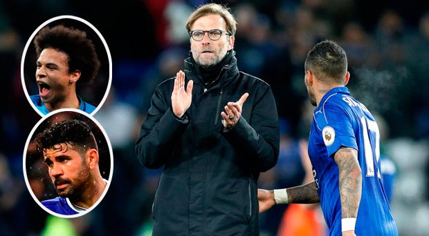 Jurgen Klopp and (inset) Sane and Costa, both of whom were approached by Liverpool