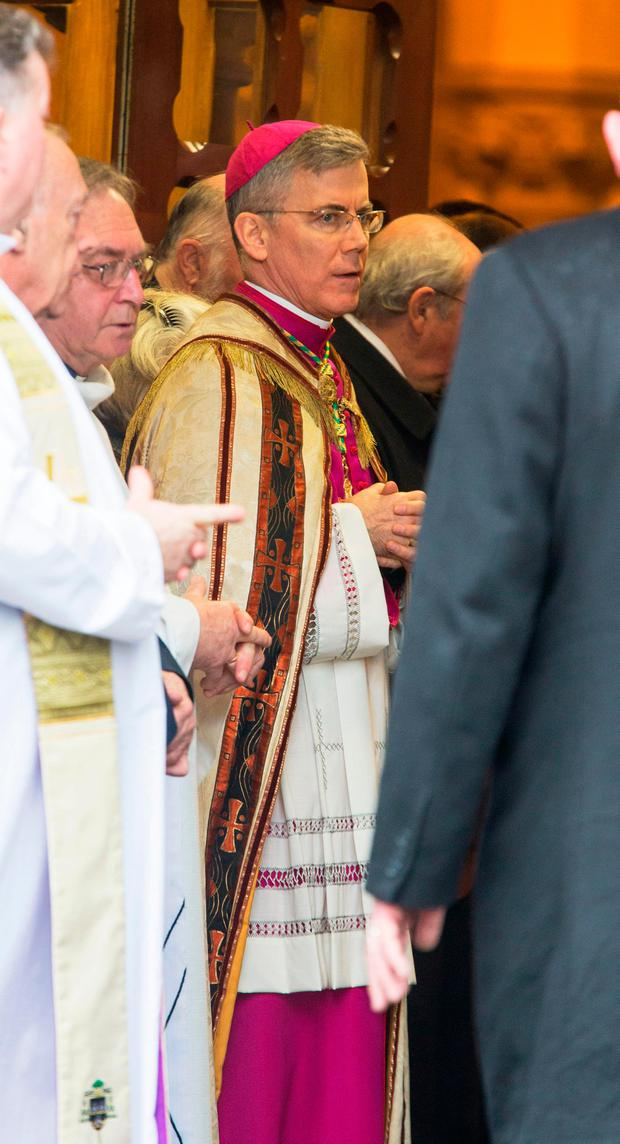 The Papal Nincio, Archbishop Charles Brown who officiated at The Funeral of Peter Matthews at The Church of The Sacret Heart, Donnybrook today. PIC COLIN O'RIORDAN