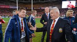 6 July 2013; British & Irish Lions head coach Warren Gatland, right, and Brian O'Driscoll following the game. British & Irish Lions Tour 2013, 3rd Test, Australia v British & Irish Lions. ANZ Stadium, Sydney Olympic Park, Sydney, Australia. Picture credit: Stephen McCarthy / SPORTSFILE