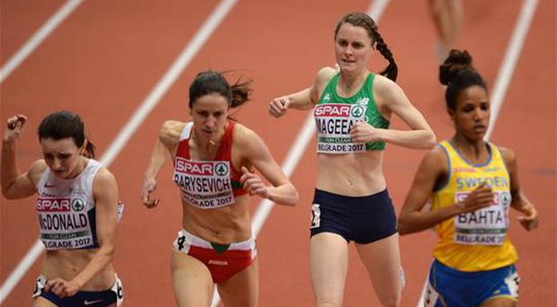 3 March 2017; Ciara Mageean of Ireland on her way to finishing fourth in her Women's 1500m Heat during the European Indoor Athletics Championships - Day One at Kombank Arena in Belgrade, Serbia. Photo by Sam Barnes/Sportsfile