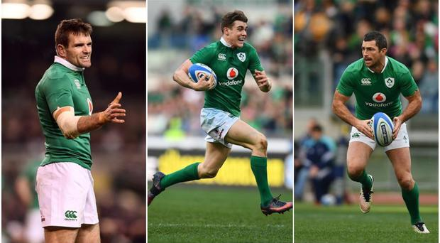 Jared Payne (left), Garry Ringrose (centre) and Rob Kearney (right).