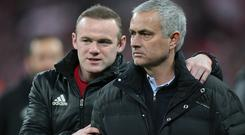 Manchester United's Wayne Rooney and Jose Mourinho