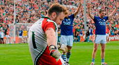 Rob Hennelly's late '45'– to win the game in normal time for Mayo – dropped short against Kerry in what was a dramatic encounter at the Gaelic Grounds in 2014, defying reservations about the venue. Photo: Stephen McCarthy/Sportsfile