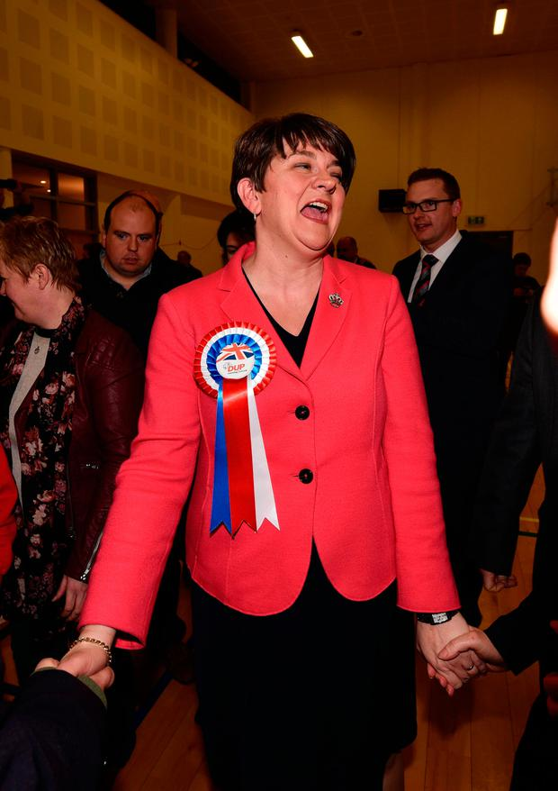 DUP leader and former first minister Arlene Foster celebrates after being elected as the Northern Ireland Stormont election count takes place at Omagh Leisure Centre. Photo: Charles McQuillan/Getty