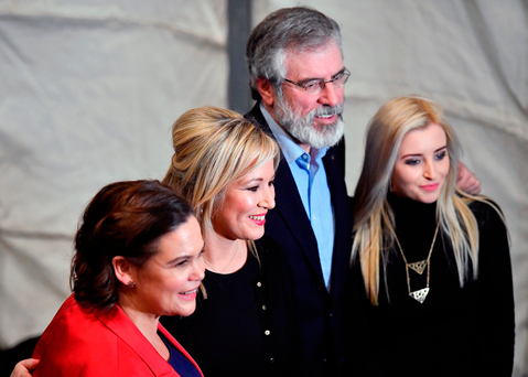 Mary Lou McDonald TD, Michelle O'Neill MLA, Sinn Fein president Gerry Adams TD and newly elected MLA Orlaithi Flynn at the count centre in Belfast (Photo by Jeff J Mitchell/Getty Images)