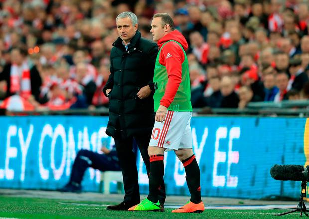 Jose Mourinho and Wayne Rooney. Photo credit: Adam Davy/PA Wire