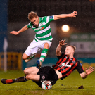Simon Madden evades Jamie Doyle's sliding tackle at Tallaght Stadium in Dublin. Photo by Seb Daly/Sportsfile