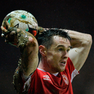 Michael Barker of St. Patrick's Athletic prepares to take a throw-in. Photo by Piaras Ó Mídheach/Sportsfile