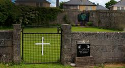 The site of a mass grave for children who died in the Tuam Mother and Baby Home in Galway. Photo: PA