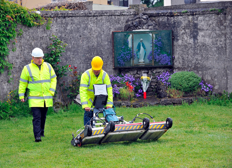 Specialist engineers use a radar to search the burial site at the former Tuam Mother and Baby Home. Photo: Ray Ryan