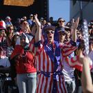 US fans cheer for the US soccer team during a friendly match
