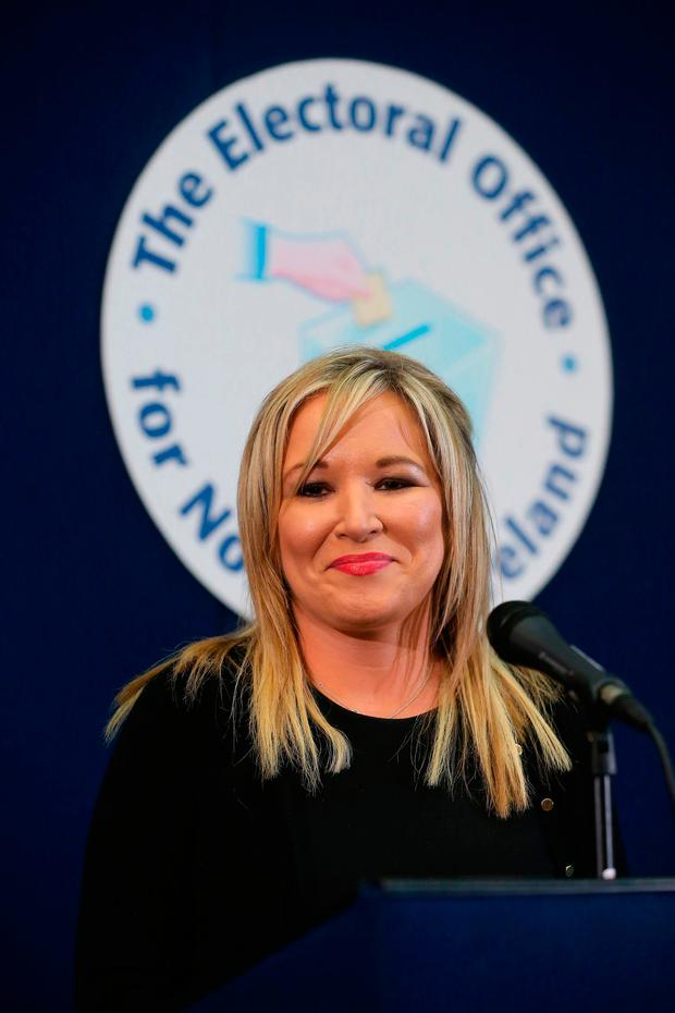 Sinn Fein Leader in the North Michelle O'Neill speaking at the Seven Towers Leisure Centre in Ballymena. Niall Carson/PA Wire