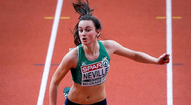 Ciara Neville of Ireland competes in the Women's 60 metres heats on day two of the 2017 European Athletics Indoor Championships at the Kombank Arena in Belgrade