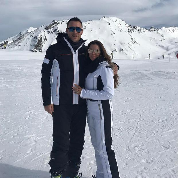 John Terry and wife Toni skiing in France. Picture: Instagram