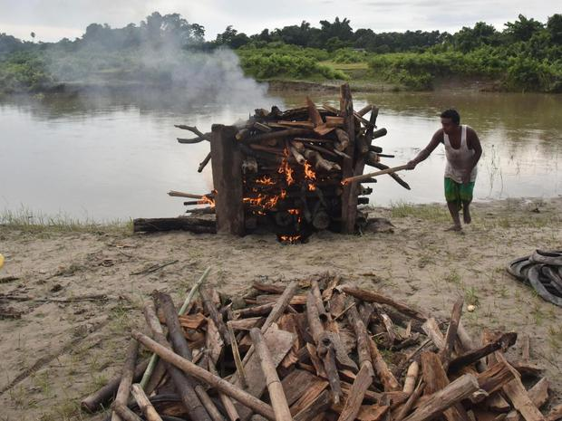 (File image) A funeral pyre in India. BIJU BORO/AFP/Getty Images