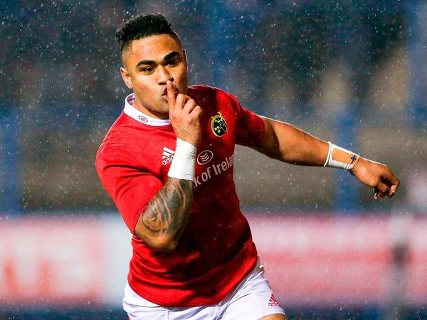 Munster's Francis Saili celebrates scoring his side's first try against Cardiff. Photo: Darren Griffiths/Sportsfile