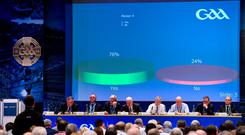 Delegates vote to introduce the new football championship structure at Congress last weekend. Photo: Ray McManus/Sportsfile