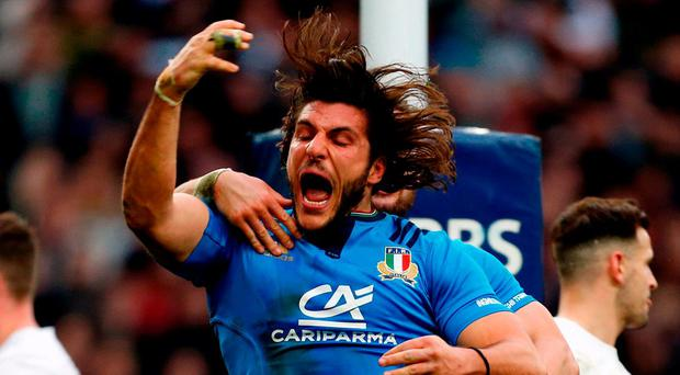 Italy's Giovanbattista Venditti celebrates scoring a try against England last week. Photo: Paul Harding/PA Wire