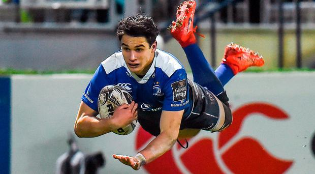Joey Carbery dives over to score Leinster's fourth try during the Guinness PRO12 match against the Scarlets. Photo: Seb Daly/Sportsfile