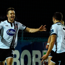 Robbie Benson, left, of Dundalk celebrates after scoring his side's first goal with team-mate Michael Duffy
