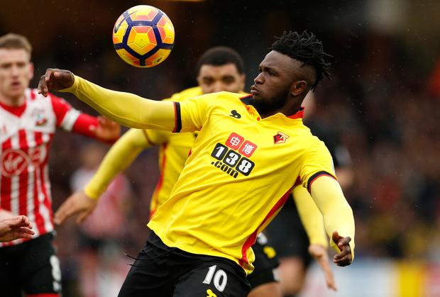 Watford's Isaac Success brings the ball under his control. Photo: Reuters