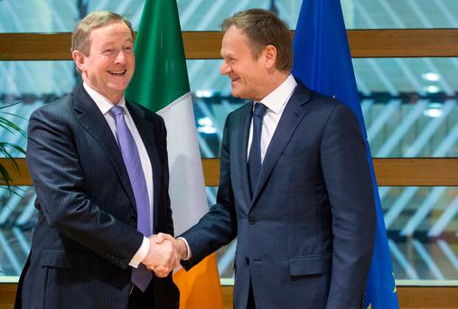 New role: Taoiseach Enda Kenny and Donald Tusk. (AP Photo)