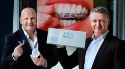 Sean Gallagher with Graham Byrne from Your Smile Direct Picture by Steve Humphreys