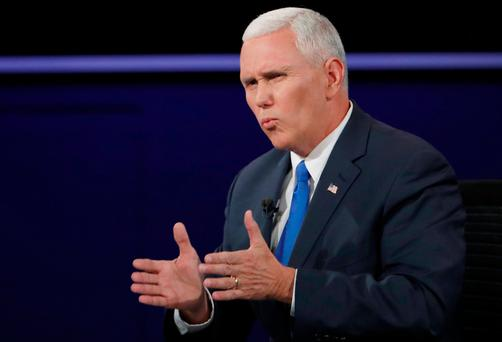 Republican U.S. vice presidential nominee Governor Mike Pence speaks during his debate against Democratic U.S. vice presidential nominee Senator Tim Kaine REUTERS/Kevin Lamarque/File Photo