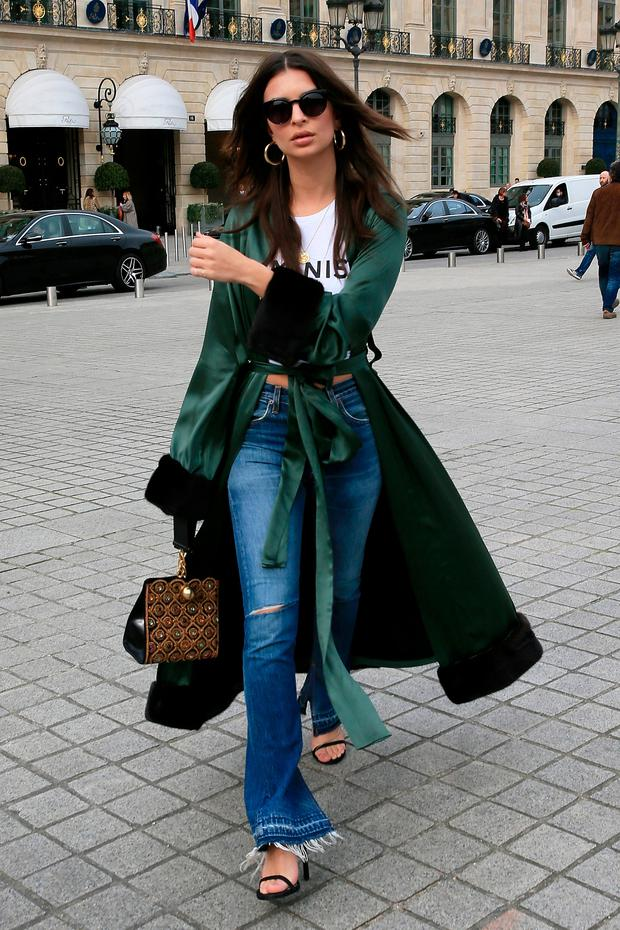 Emily Ratajkowski is seen strolling on the place vendome on March 3, 2017 in Paris, France. (Photo by Pierre Suu/GC Images)