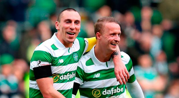 Celtic's Scott Brown and Leigh Griffiths (right) after the match Photo: Jane Barlow/PA Wire