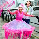 St Patrick's Day Grand Marshal Annalise Murphy with jellyfish Piyanuch Chanphet of Artastic. Photo: Tony Gavin