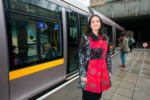 Green Party TD Catherine Martin at Ballaly Luas station in Dundrum. Photo: Tony Gavin