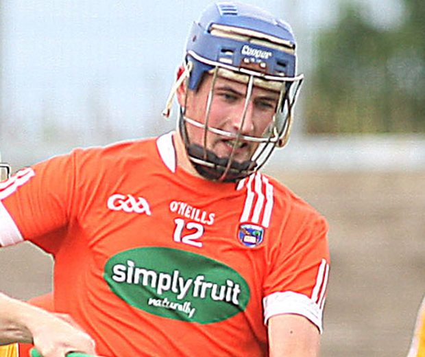 Armagh captain David Carvill was sent off for a second yellow. Photo: Lorcan Doherty/Presseye.com