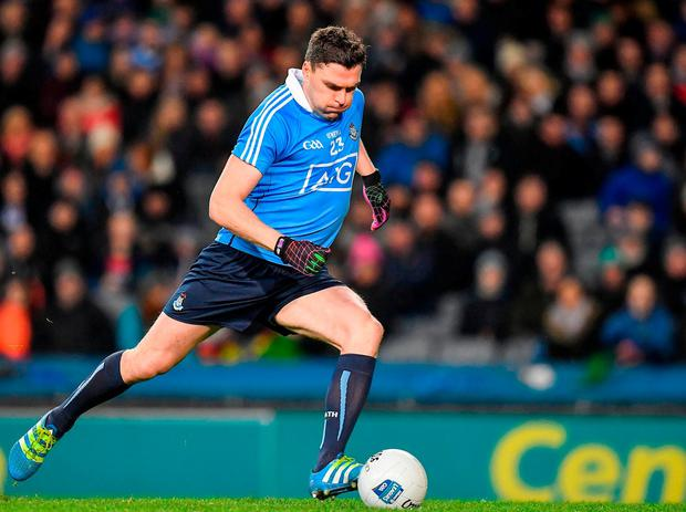 Dublin's Paddy Andrews takes a penalty. Photo: Brendan Moran/Sportsfile