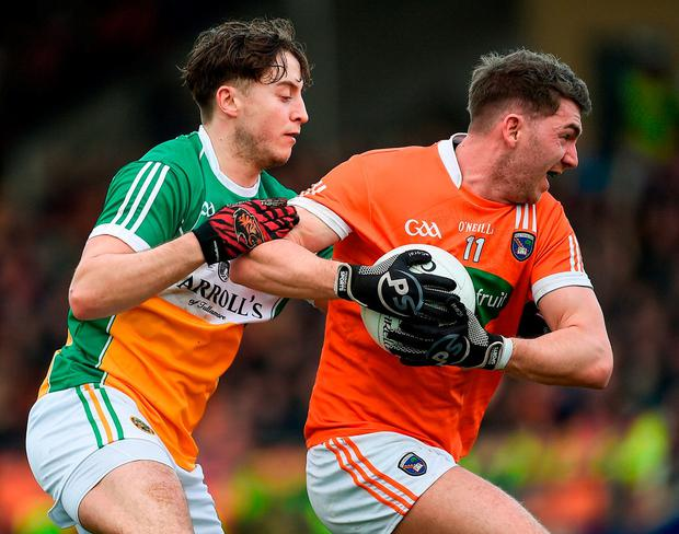 Armagh's Anthony Duffy in action against Offaly's Joseph O'Connor. Photo: Philip Fitzpatrick/Sportsfile